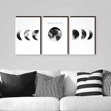 Trio de Quadros Fases da Lua Branco [BOX DE MADEIRA]