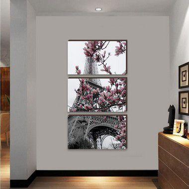 Trio de quadros Paisagem Torre Eiffel e Flor de cerejeira VERTICAL [BoxMadeira]