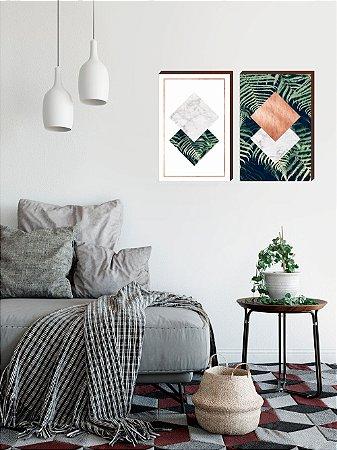 Dupla de quadros Geométricos Rosê Gold + Folhagem [boxdemadeira]