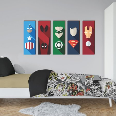 Kit de quadros Super Heróis Mod. 02  20x60 - Capitão América, Deadpool, Lanterna Verde, Superman e Homem de Ferro [box de madeira]