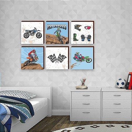 Sexteto de quadros infantil Motocross [BoxMadeira]