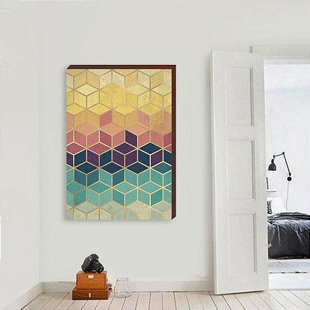 Quadro Decorativo Geométrico Abstrato Colorido com dourado [BoxMadeira]