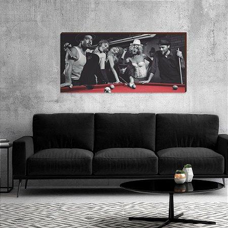 Quadro decorativo Mesa de Sinuca Vermelha - Preto e branco [BoxMadeira]