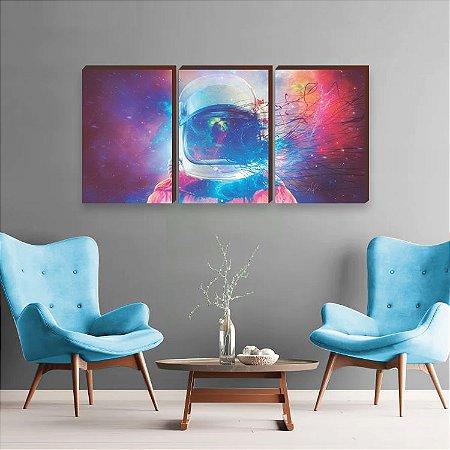 Trio de quadros Astronauta Galáxia Mod. 01 [BoxMadeira]