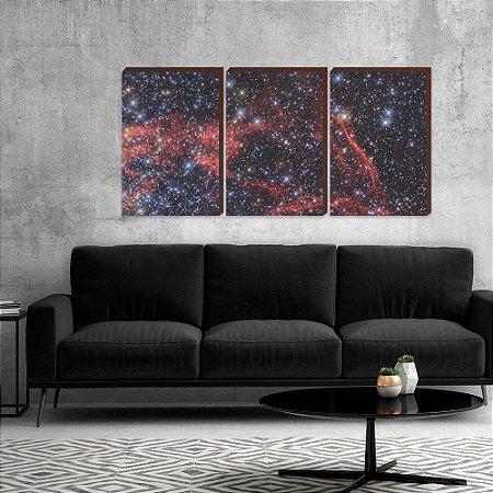 Trio de quadros Galáxia [BoxMadeira]
