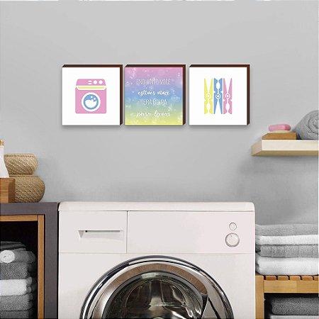 Trio de quadros Enquanto você estiver viva terá roupa para lavar COLORIDO  [BoxMadeira]