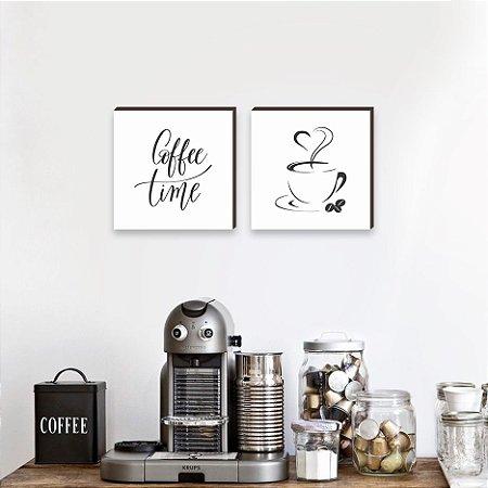 Dupla de quadros Coffee Time - Branco [Box de madeira]