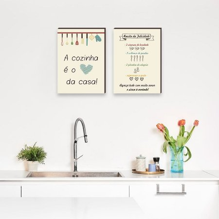 Dupla de quadros A cozinha é o coração da casa + Receita da Felicidade Bege [boxdemadeira]