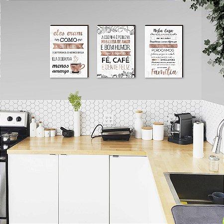 Trio de quadros para cozinha Eles eram como café e leite+ A cozinha é pequena+ Nesta casa nos amamos  Rose Gold Marmorizado  [Box de madeira]
