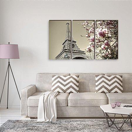 Trio de Quadros Torre Eiffel Mod.07 [BOX DE MADEIRA]
