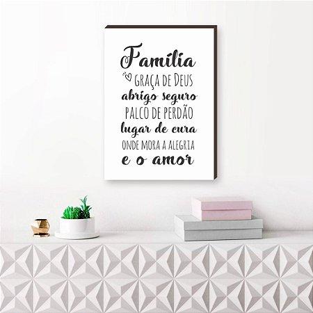Quadro decorativo Família Graça de Deus - fundo branco [Box de Madeira]