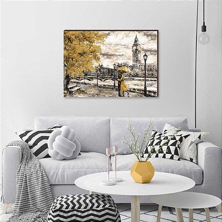 Quadro decorativo Pintura Casal Londres Amarelo [box de Madeira]