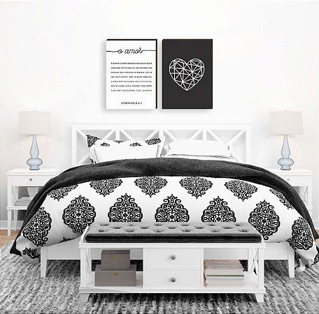 Dupla de quadros O amor + Coração Preto e Branco [boxdemadeira]