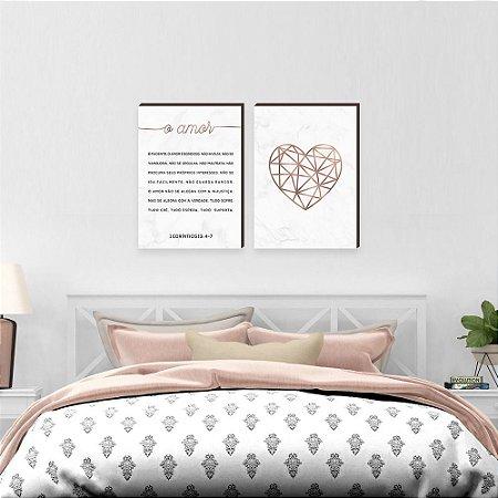 Dupla de quadros O amor + Coração Rose Gold [boxdemadeira]