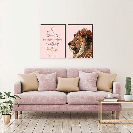 Dupla de quadros Leão de Judá vertical+ O Senhor é meu pastor ROSA[boxdemadeira]