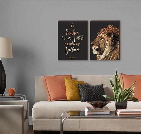 Dupla de quadros Leão de Judá vertical+ O Senhor é meu pastor PRETO [boxdemadeira]