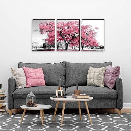 Trio de Quadros decorativo Árvore Rosa [BoxMadeira]