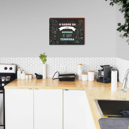 Quadro decorativo para cozinha O sabor da vida depende ... Candy Color [BoxMadeira]