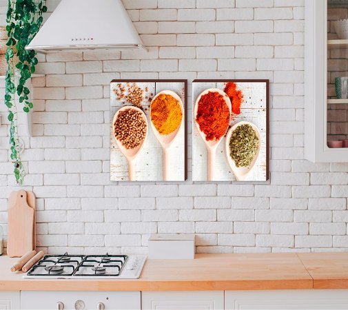 Dupla de quadros para cozinha Temperos mod.01[boxdemadeira]