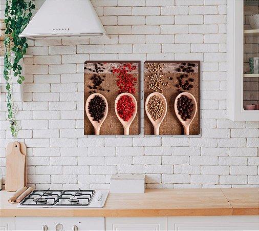 Dupla de quadros para cozinha Temperos mod.02 [boxdemadeira]