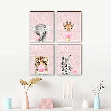 Quarteto de Quadros infantil Animais chiclete fundo tijolinho rosa  [BoxMadeira]