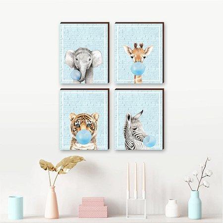 Quarteto de Quadros Animais chiclete fundo tijolinho azul  [BoxMadeira]