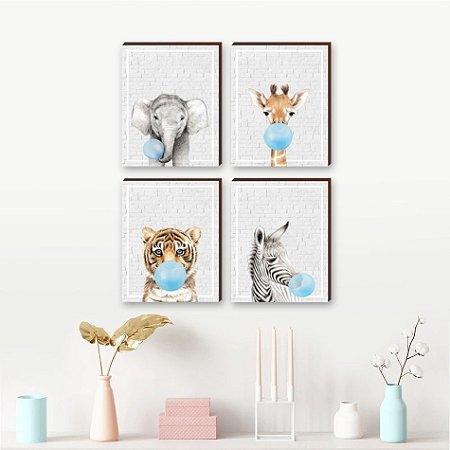 Quarteto de Quadros infantil Animais infantil chiclete azul fundo tijolinho cinza  [BoxMadeira]