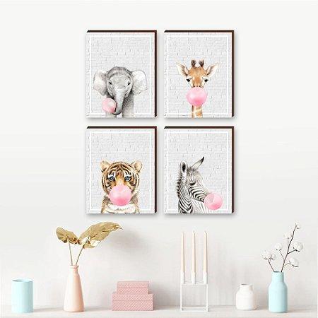 Quarteto de Quadros infantil Animais chiclete rosa fundo tijolinho cinza  [BoxMadeira]