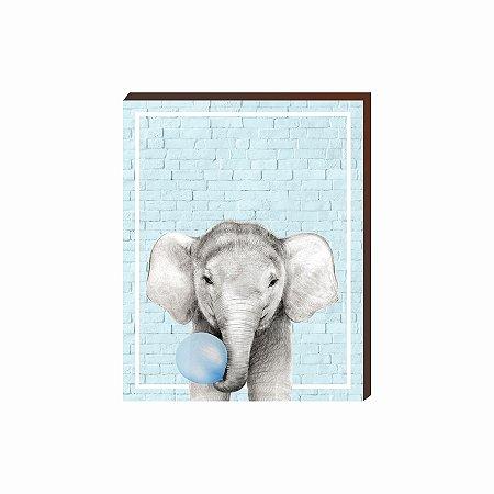 Quadro Animais Chiclete Realístico Elefante fundo e chiclete azul [BoxMadeira]
