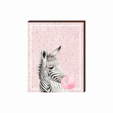 Quadro Animais Chiclete Realístico Zebra fundo e chiclete ROSA [BoxMadeira]