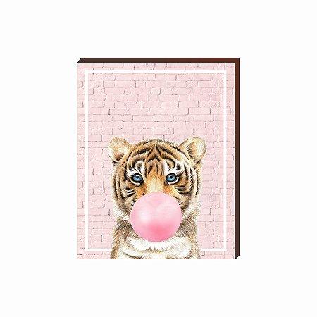 Quadro Animais Chiclete Realístico Tigre fundo e chiclete ROSA [BoxMadeira]
