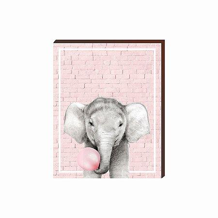 Quadro Animais Chiclete Realístico Elefante fundo e chiclete ROSA [BoxMadeira]