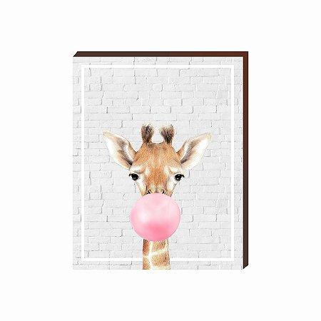 Quadro Animais Chiclete Realístico Girafa fundo cinza e chiclete ROSA [BoxMadeira]