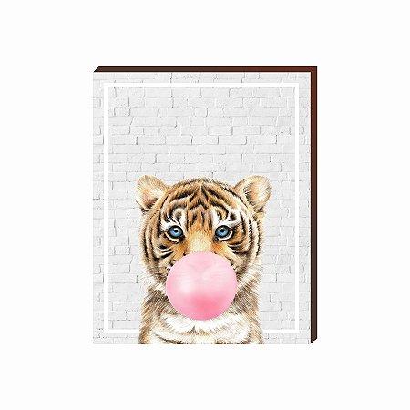 Quadro Animais Chiclete Realístico Tigre fundo cinza e chiclete ROSA [BoxMadeira]