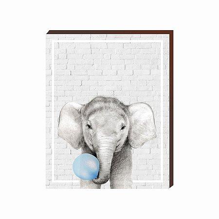 Quadro Animais Chiclete Realístico Elefante fundo cinza e chiclete AZUL [BoxMadeira]
