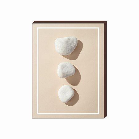 Quadro decorativo Pedras- fundo bege [Box de Madeira]