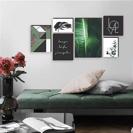 Kit de quadros Keep Life Simple Verde [Box de Madeira]