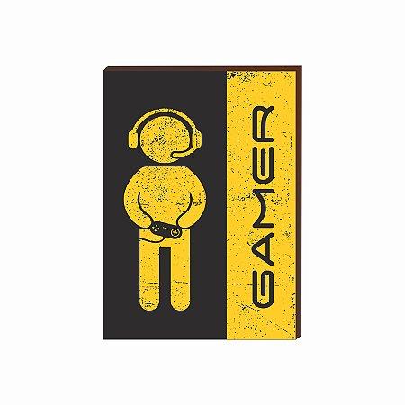 Quadro decorativo Gamer- amarelo e preto [BoxMadeira]