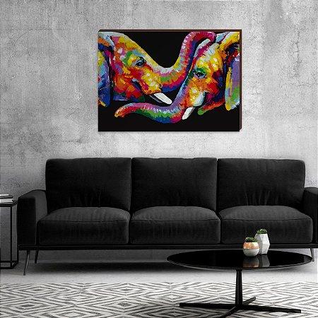 Quadro decorativo Elefantes Colorido [box de Madeira]
