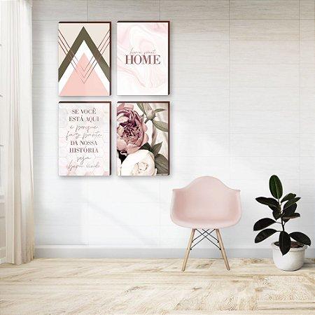 Quarteto de Quadros Se você está aqui + Peônia+ Geométrico+ Home Sweet Home [BoxMadeira]