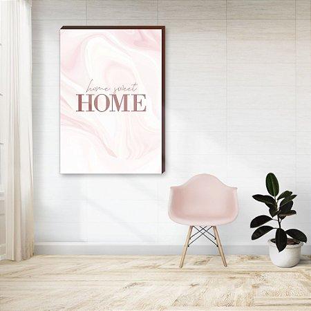 Quadro decorativo Home Sweet Home fundo rosa[Box de Madeira]