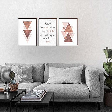 Quadros Trio Geométrico + Que a vida seja [BOX DE MADEIRA]