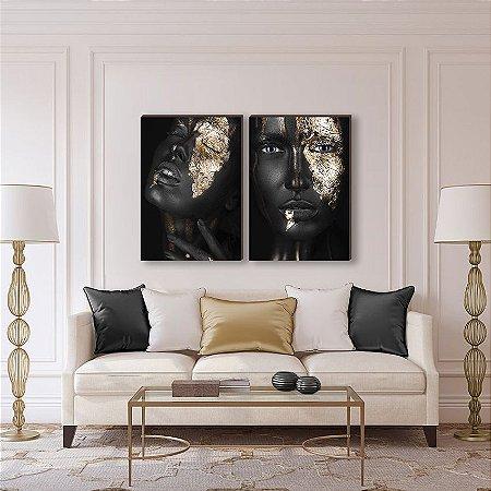 Dupla de quadros Mulheres dourado [Box de Madeira]