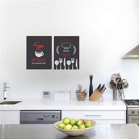 Dupla de quadros para cozinha Bon Appéttit + Hot coffee [Box de Madeira]
