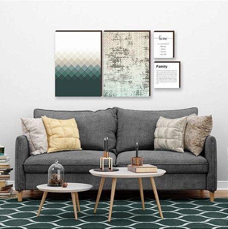 Quarteto de quadros Geométrico+ abstrato+ home+ family Verde [box de madeira]