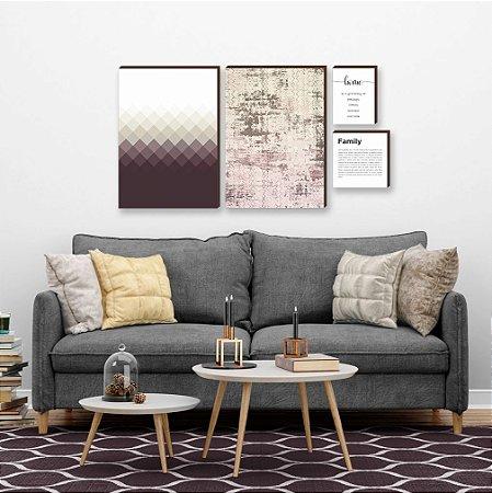 Quarteto de quadros Geométrico+ abstrato+ home+ family Vinho [box de madeira]