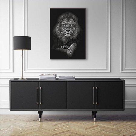 Quadro decorativo Animais Selvagens Leão Pose - fundo preto [BoxMadeira]