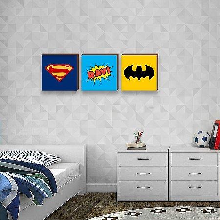 Trio de quadros infantil Símbolos Heróis com Nome - Superman, Batman[BoxMadeira]