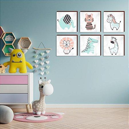 Sexteto de quadros infantil Rabiscos Color Animais [BoxMadeira]