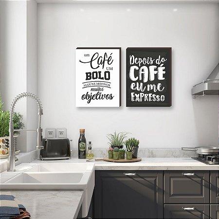 Dupla de quadros para cozinha Um café, um bolo + Depois do café   [boxdemadeira]